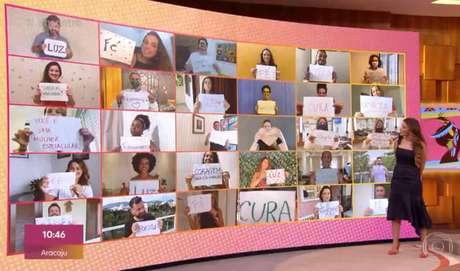Equipe do 'Encontro com Fátima Bernardes' fez homenagem para apresentadora com cartazes