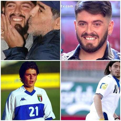 Acima, Maradona em demonstração de carinho pelo filho antes rejeitado e Diego Jr. na TV argentina; abaixo, momentos do rapaz quando tentou seguir os passos do pai no futebol