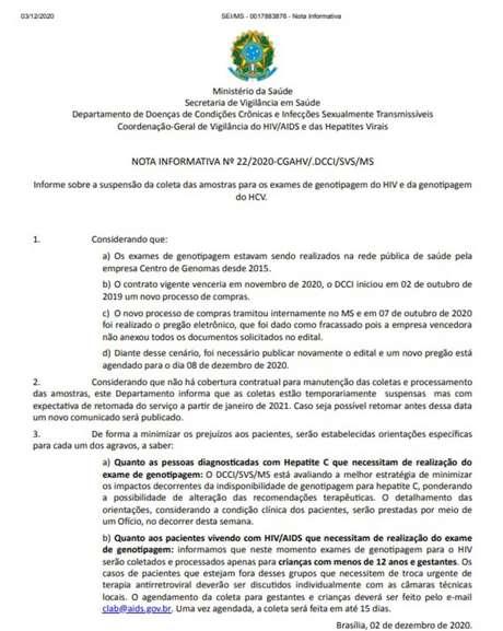 Nota do Ministério da Saúde sobre os exames.