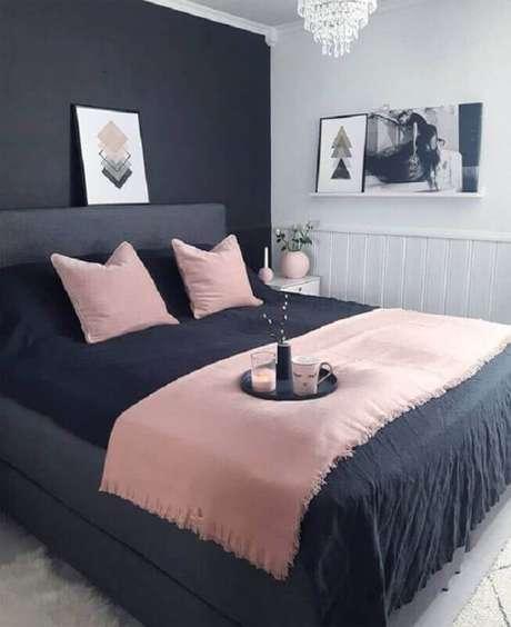 11. Decoração para quarto minimalista feminino cinza e rosa – Foto: Pinterest