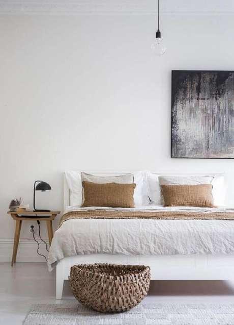 50. Quadro abstrato para decoração de quarto minimalista branco – Foto: Coco Lapine Design