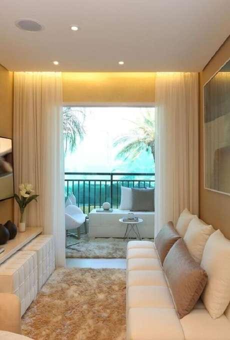 4. A cor bege é uma excelente escolha para decorar salas pequenas – Foto: Casa de Valentina