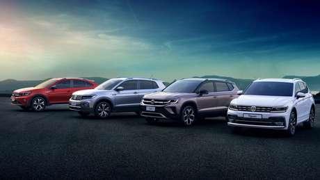 """Linha de SUVs da Volkswagen está completa """"por enquanto"""" com Nivus, T-Cross, Taos e Tiguan."""