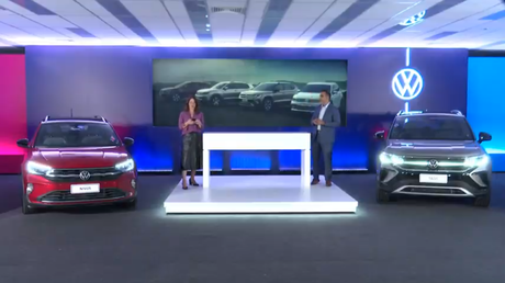 Volkswagen Taos presente na live apresentada por Priscila Cortezze (diretora de comunicação) e Pablo Di Si (presidente): primeira vez no Brasil.