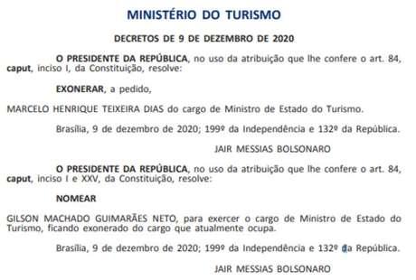 Nomeação de Gilson Machado como ministro do Turismo é publicada no Diário Oficial da União
