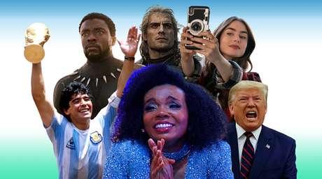 Acima, Pantera Negra, The Witcher e Emily in Paris; abaixo, Maradona, Thelma do BBB20 e Donald Trump: destaques nas listas de buscas do Google