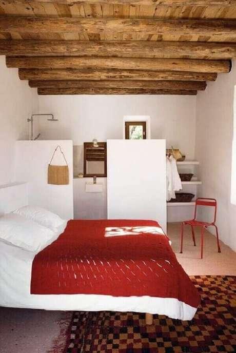 24. Decoração rústica para quarto com suíte simples. Fonte: Revista VD