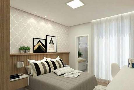 45. O quarto com suíte é comum em projetos de apartamento. Fonte: Pinterest