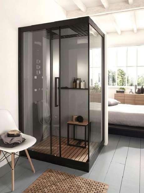 25. Projeto de quarto com suíte simples para ambientes pequenos. Fonte: Joli Place