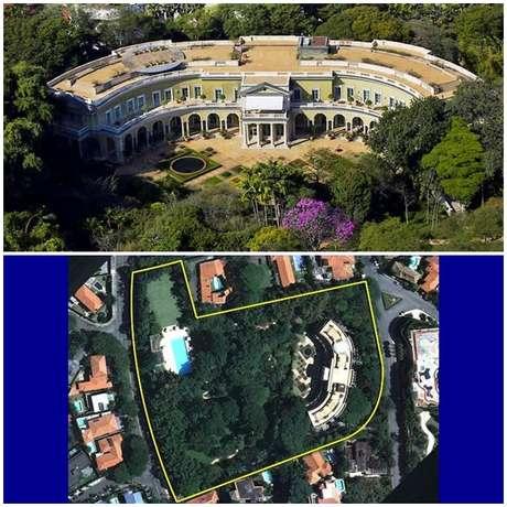 Acima, a fachada da mansão; abaixo, percebe-se a grandiosidade do terreno