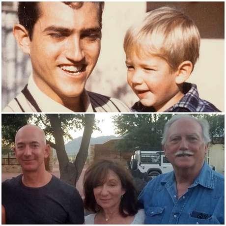 Acima, Miguel na época em que adotou Jeff; abaixo, o dono da Amazon com os pais: uma história real que parece roteiro de filme ou novela