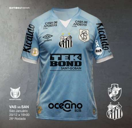 Camisa III do Santos será usada pela primeira vez contra o Vasco (Foto: Reprodução)