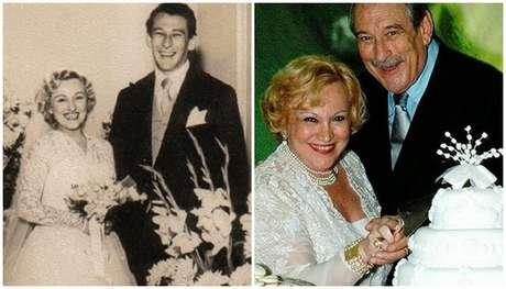 Nicette e Paulo Goulart no casamento, em 1954, e na festa das Bodas de Ouro: foram 62 anos de convivência até a morte do ator