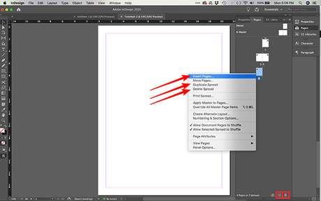 Como inserir, deletar e duplicar páginas no InDesign. (Imagem: Reprodução/Adobe InDesign)