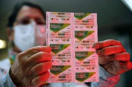 Embalagem com compromidos de cloroquina em hospital de Porto Alegre 26/5/2020 REUTERS/Diego Vara
