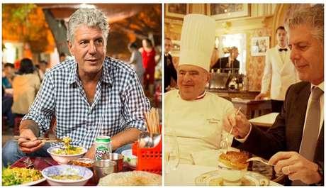 Bourdain em uma refeição popular e durante degustação ao lado do lendário chef francês Paul Bocuse, morto cinco meses antes dele