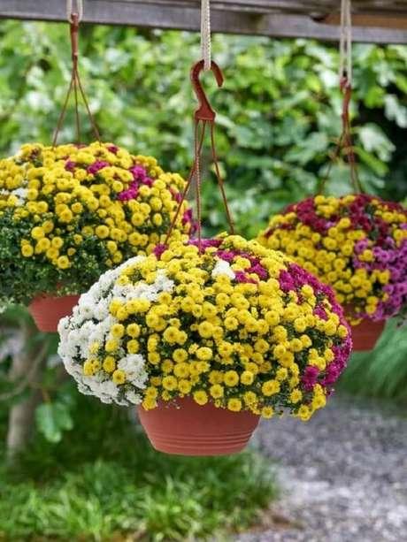 27. Mescle tonalidades de flores para vasos suspensos. Fonte: Pinterest
