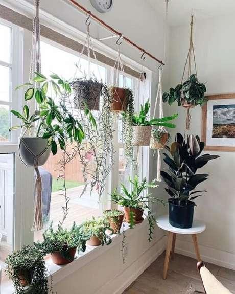 31. Os vasos para jardim suspenso foram fixados próximos à janela. Fonte: Pinterest