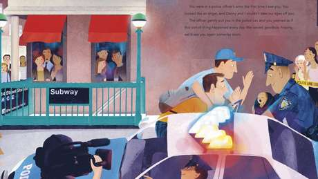 Imagem do livro 'Our Subway Baby', de autoria de Peter Mercurio e ilustrado por Leo Espinosa