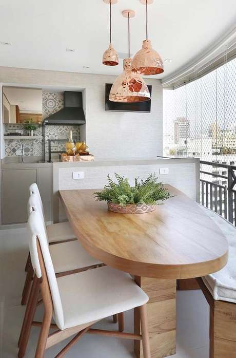 2. Mesa para apartamento gourmet oval – Via: Arkpad