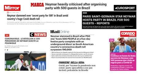 A imprensa internacional informa com espanto o evento de Ano Novo de Neymar em plena segunda onda de covid-19