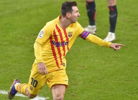 Messi chegou aos nove gols e agora é artilheiro do Espanhol com outros três jogadores (Foto: ANDER GILLENEA / AFP)