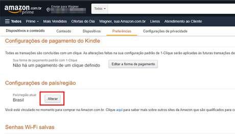 Processo para mudar a região da conta da Amazon (Imagem: Reprodução/Amazon)