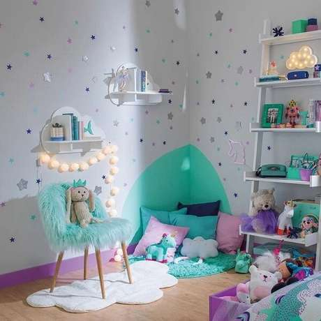 55. Prateleiras infantil para quarto em formato de nuvem. Fonte: Pinterest