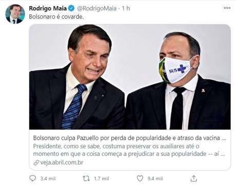 'Bolsonaro é covarde', escreveu o presidente da Câmara, Rodrigo Maia.