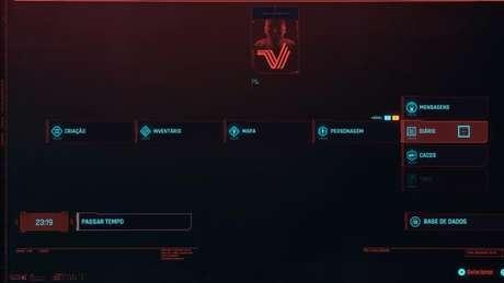 Fique de olho no diário em Cyberpunk 2077 (Imagem: Reprodução / CD Projekt RED)