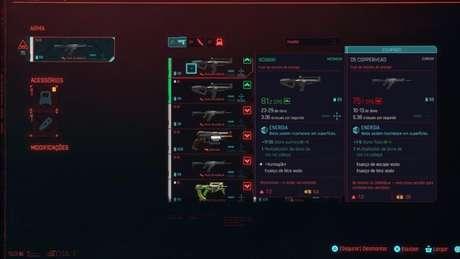 Menu sobre armas em Cyberpunk 2077 (Imagem: Reprodução/ CD Projekt RED)