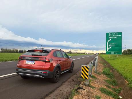 Nivus no final da Rodovia Castello Branco: comportamento impecável na auto estrada.