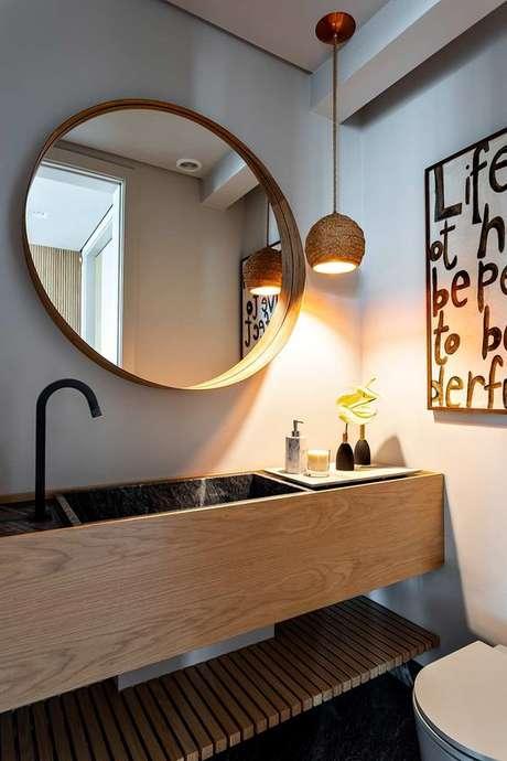3. Arandela rústica no banheiro de casa – Via: Casa de Valentina