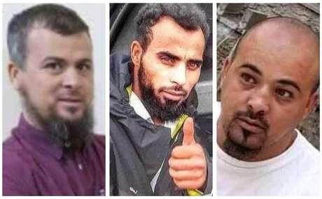 Mohammed al-Kani, o salafista (à esquerda), e os dois principais assassinos, Mohsen e Abdul-Rahim