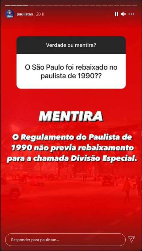 Organização do Campeonato Paulista negaque o São Paulo tenha sido rebaixado na edição de 1990 do torneio