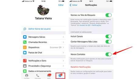 Como desabilitar notificações novos contatos Telegram no iOS. (Imagem: Reprodução/Telegram)