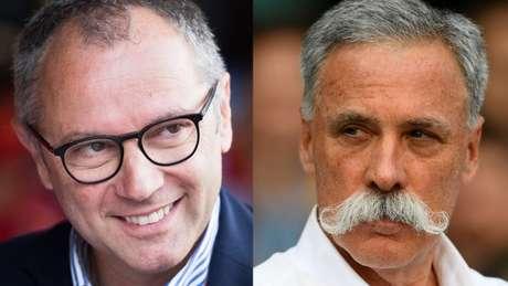 """Domenicali e Carey: italiano herdou o comando da F1 e também o """"abacaxi"""" da pandemia."""