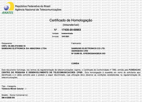 Homologação do Galaxy A32 na Anatel (Imagem: Reprodução/Tecnoblog)