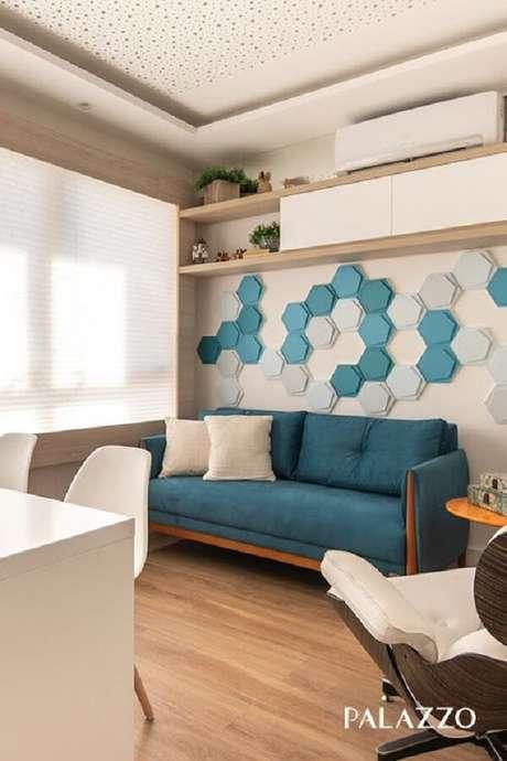 7. Revestimento azul 3D para sala de estar – Foto: Palazzo
