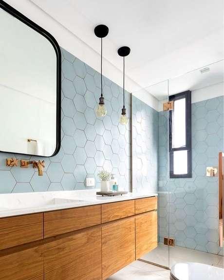 4. Revestimento hexagonal azul – Via: Decor Salteado