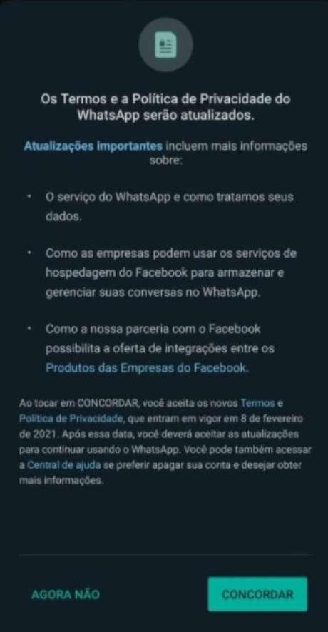 Notificação do WhatsApp sobre mudança na política de privacidade