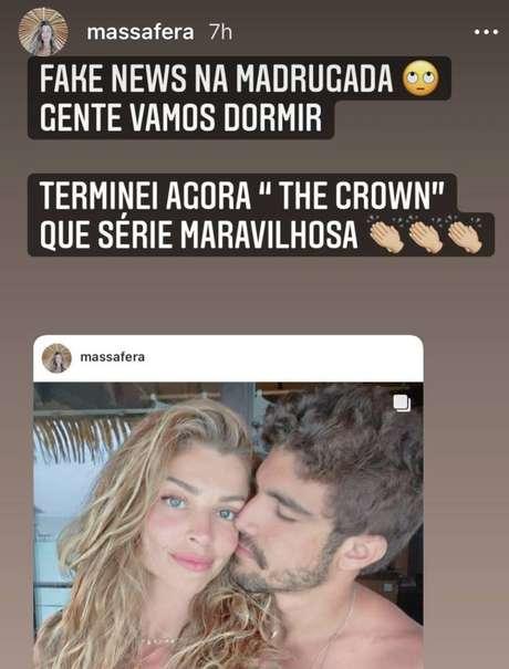 Perfil da atriz Grazi Massafera, que publicou uma foto antiga ao lado no namoradoCaio Castro
