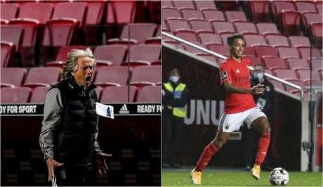 Jorge Jesus e Pedrinho chegaram ao Benfica no início da temporada (Foto: AFP; Divulgação / Benfica)