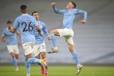 Manchester City chegou aos 32 pontos na Premier League (Foto: CLIVE BRUNSKILL / POOL / AFP)