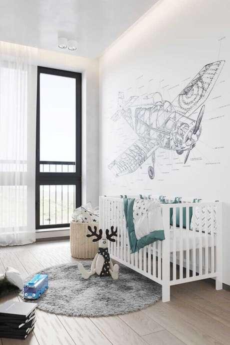 34. Cores claras para decoração de quarto de bebê simples – Foto: Pinterest