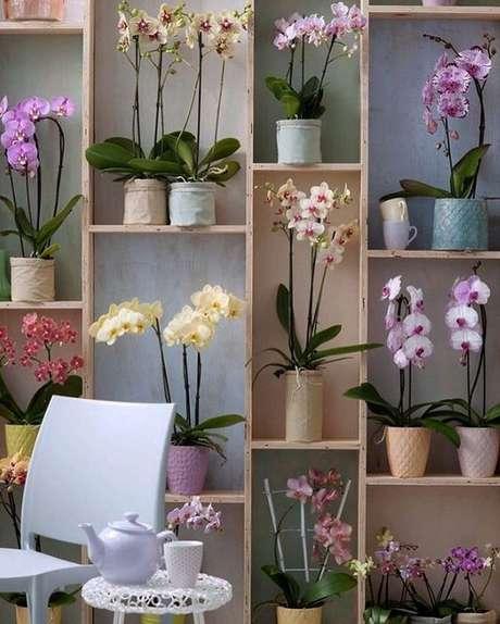 1. Estante decorada com vasos de orquídea – Via: Arquitrecos