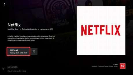Tela de download do app da Netflix no Xbox One (Imagem: Reprodução/Microsoft)