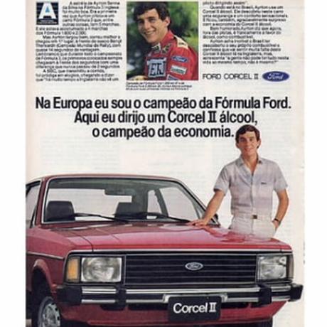 Campanha do Corcel II a álcool, com Ayrton Senna