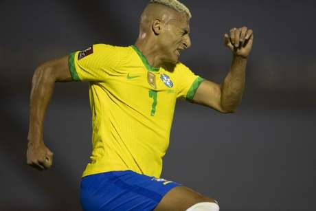 Richarlison comemora gol contra o Uruguai (Lucas Figueiredo/CBF)