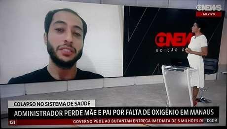 Iyad Hajoj conversa com Aline Midlej: depoimento comovente em dia de cobertura especial sobre a trágica situação nos hospitais de Manaus